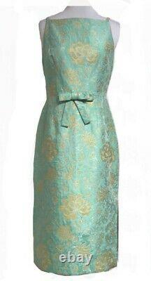 Vintage David Meister Aqua Dress Size 8 Excellent Condition