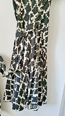 Vintage Diane von Furstenberg DVF Monochrome A-Line Wrap Dress UK 8 / US 4