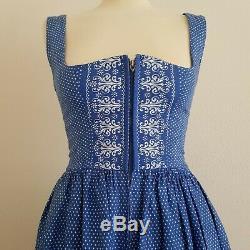 Vintage Dirndl Blue & White Polka Dot Folksy Zip-Front A-Line Dress, Small UK6-8