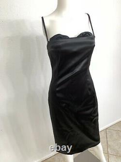 Vintage Dolce Gabbana Bustier Corset Dress Black Lined Leopard Built In Bra IT44