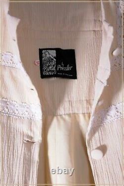 Vintage Dress And Long Line Coat 1970's Romantic Maxi Antique Lace Peasant Bride