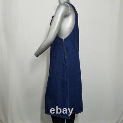 Vintage Dress Women's Blue Denim Overall Jumper Pockets A-Line Side Zip Buckle