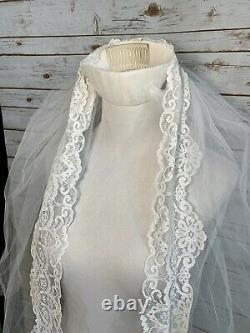 Vintage Edwardian Style Lace Beaded Dress TRAIN Sheer Sleeves A Line UNION