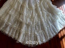 Vintage Edwardian Wedding Lace Dress TRAIN Sheer Sleeves A Line UNION XS 7/8