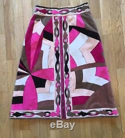 Vintage Emilio Pucci Skirt Pink Velvet A Line Knee Length Front Zip 70s Skirt S