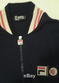 Vintage FILA Borg complete suit. 70s White line Bj very rare early Borg
