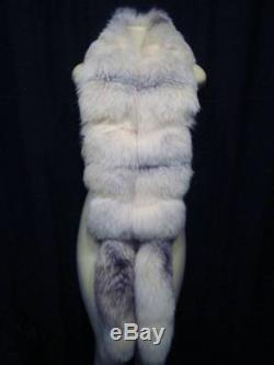 Vintage FOX FUR Scarf Wrap Shawl FULL FOX TAILS Lined THICK SOFT 77 Long