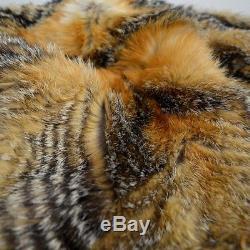 Vintage Feathery Gris Fox Fur Lined Hood & Lapel Parachute Parka Anorak Cape 80s
