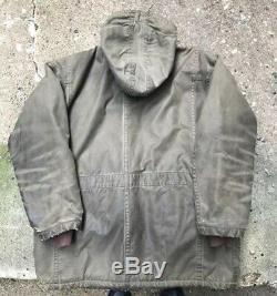 Vintage Filson Field Coat Wool Lined Tin Cloth Jacket M Waxed USA THRASHED
