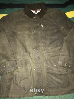 Vintage Filson Tin Cloth Jacket Waxed Canvas Made In USA Sz L Shooting Hunting