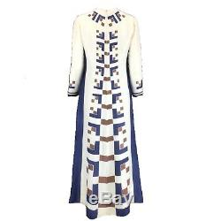 Vintage French Ivory Blue Brown Pure Silk HandBlock Printed A-Line Maxi Dress 12