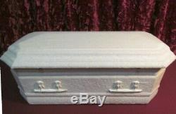 Vintage Funeral Infant casket Embossed Cloth Covered Coffin Fully Satin Lined