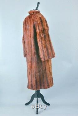 Vintage Fur Coat Long Brown Lined Jacket Musquash Rocker Grunge Small UK 8 10