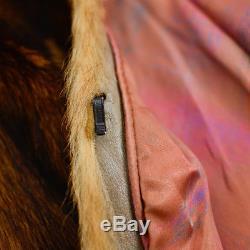 Vintage Fur Coat Short Brown Lined Jacket Fox Boho Rocker Grunge Small UK 8