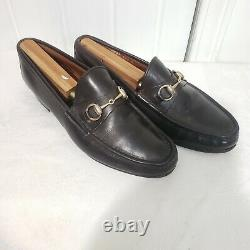 Vintage GUCCI Men's Brown Horse bit Loafers Shoes sz 8.5 41.5 Made in italy