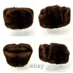 Vintage Genuine Full Mink Russian Ushanka Hat With Mink Ear Flaps Latvia