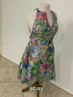 Vintage Geoffrey Beene (His Best Line) Watercolor MPattern Dress WithTiny Bows 2-4