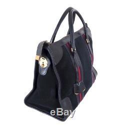 Vintage Gucci Blue Suede Leather Double Line Rare Hand Bag. NFV5153