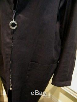 Vintage Gucci MD In Italy Size 44 Dark Navy Linen Dress / Coat Fully Lined