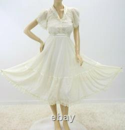 Vintage Gunne Sax Jessica Prairie Dress Light Airy Lace Lined skirt 25 Waist