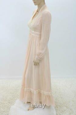 Vintage Gunne Sax Prairie Dress Long Peach Airy Lace Lined skirt sz 9 SEE VIDEO