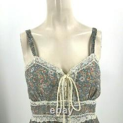 Vintage Gunne Sax Women's 11 Blue Floral Spaghetti Strap Lined Maxi Dress