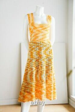 Vintage Hand Crochet Sunny Multi Yellow Square Neck A Line Mido Dress Large