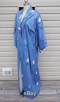 Vintage Hand Sewn Japanese Wrap long Jacket Cotton Kimono XL Lined Art Robe