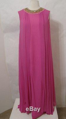 Vintage Hot Pink Sleeveless Chiffon Silk Jeweled Lined Caftan 16