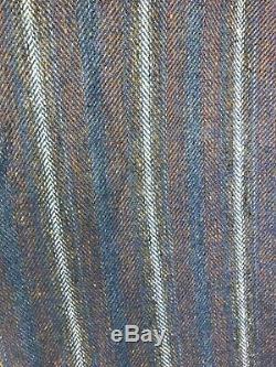 Vintage Hourihan Full Length Cape Ireland Wool Blue Tweed Lined Button Mockneck