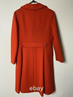 Vintage I. Magnin two piece Mod orange dress And coat Size M  Ribbed Lined