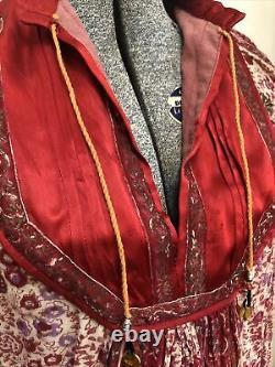 Vintage Indian Cotton Dress Medium 70s Rare Hippie Lined Boho Yoke