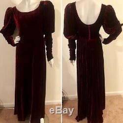 Vintage J PETERMAN Burgundy RED Velvet REGENCY Goth Long DRESS Puff Mutton Sz 8