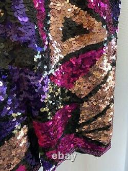 Vintage Jewel Tone Sequin Dress S 4 6 Formal Party Pink Purple Turquoise Alyce