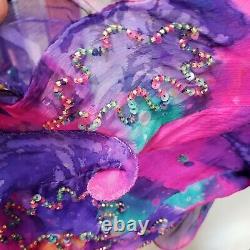 Vintage Judith Ann Creations Boho Beaded Silk Batik Maxi Dress Lined Size M