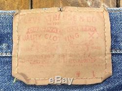 Vintage LEVIS Big E Selvedge 29x30 Yellow Single Stitch Red Line MADE IN USA