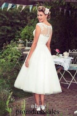 Vintage Lace Applique A Line Wedding Dress Tea Length Bridal Gown Size 4 6 8 10+