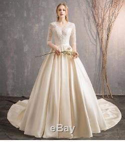 Vintage Lace Satin A Line Champagne Wedding Dress Half Sleeve V Neck Bridal Gown