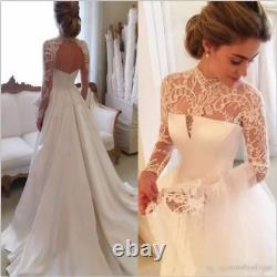 Vintage Lace Satin A Line Wedding Dress Long Sleeve High Neck Custom Bridal Gown