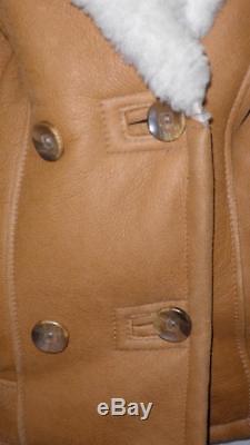 Vintage Ladies Sheepskin Lined Tan Leather Flying Jacket- 38/40