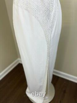 Vintage Landa Formal Dress White Beaded Sequins Pageant Prom Gown Medium