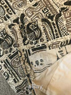 Vintage Large Bark cloth Lined Curtain Panel Tiki Polynesian theme GOLD RARE