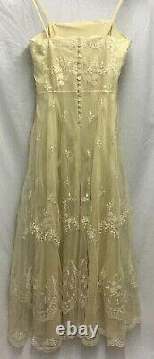 Vintage Laura Ashely Bridal A Line Strappy Button back layered lace dress UK 12