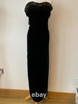 Vintage Laura Ashley Strapless Dress Ball Gown Size 10 Black Velvet Gold Hem Bow