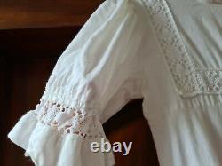 Vintage Laura Ashley White Cotton empire line Prairie Maxi Dress XS