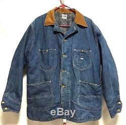 Vintage Lee Jelt Denim Chore Jacket Blanket Lined Made in USA large XL 70s 91-J