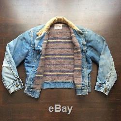 Vintage Lee Storm Rider 70s Blanket Lined Light Blue Denim Jacket Mens Small USA