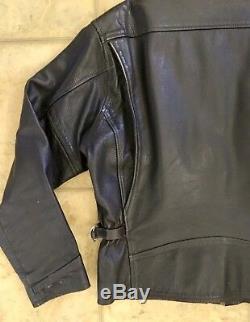Vintage Lee Trevor Heavy Dark Brown Leather Motorcycle Jacket Fully Lined Sz M