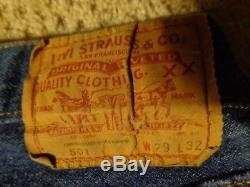 Vintage Levi's 70's 501 Selvedge Jeans 29X32 RED LINE USA Button #524