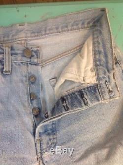 Vintage Levis 501 Red Line Single Stitch Denim Jeans 28 W 28 1/2 L Actual Size